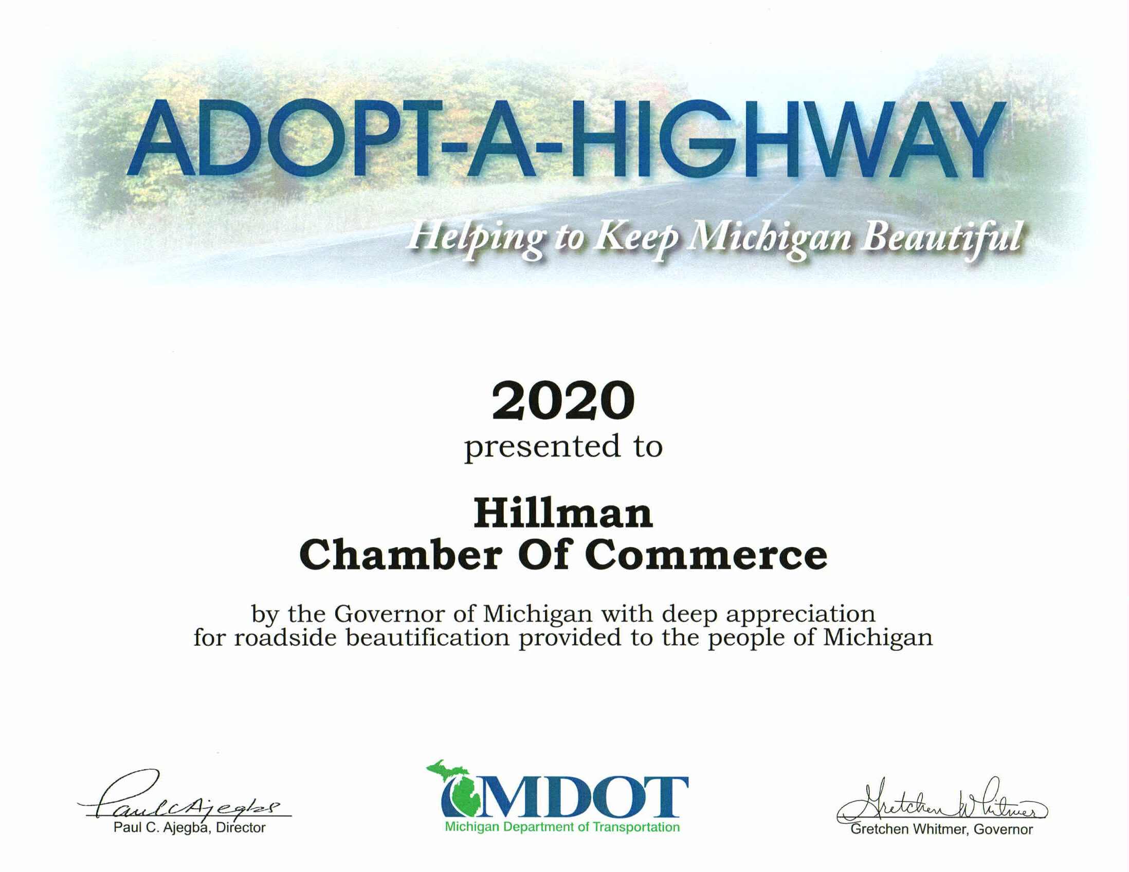 Adopt a highway 2020 certificate